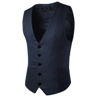 Harga Stylish Men Jacket Suit Vest Slim Fit Vest Casual Business Formal Vest Waistcoat (Navy blue)