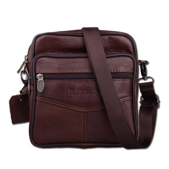 Harga Stylish Men calf leather Bag Messenger Bag Shoulder Bag (coffee)