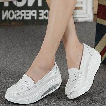 Harga Women Breathable Casual Cut-outs Wedges Sneaker Women Breathable Mary Jane Shoes Woman Light Walking Footwear Flat Mules (Color:White)