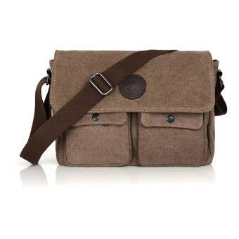Harga Men's Canvas Casual Messenger Shoulder Bag Coffee