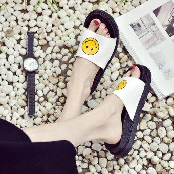 Harga Women Fashion Jelly Lady Beach Sandals Slippers Shoes Flat Low-Heeled smile
