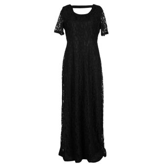 Harga Women's Sexy Lace Long Dress Plus Size Black (S-5XL)