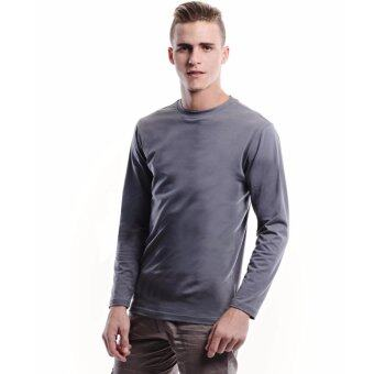 Harga Jazz & Co Men Long Sleeve Round Neck Solid Tee (Grey)