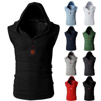 Harga Men's Waistcoat Korean Style Male Casual Cotton Sleeveless Tight Vest Tank Top Stylish Bodybuilding Fitness Singlets Muscle Clothes Black