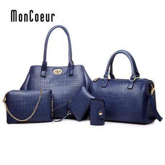 Harga MonCoeur A06 Elegant Faux Crocodile Leather Handbags Set of 5 (Sapphire Blue)