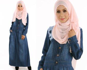 Harga JF Fashion Haniza Denim Jean Jubah Dress E5801 (Dark Blue)