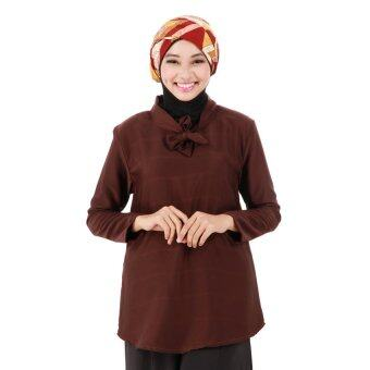 Harga Dzethinie Couture Ribbon Collar Loose Blouse Dk Brown