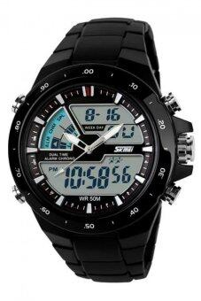 Harga Skmei 1016 All Black Quartz Silicone Army Waterproof Sport Digital Analog Strap Watch(Int: One size)