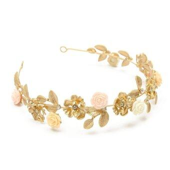 Harga Gold Exquisite Crystal Flower Wedding Bridal Hair Accessories Crown Headband Tiara Jewelry Gift