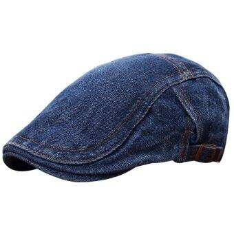 Harga Men Women Blue Denim Peaked Ivy Cap Golf Driving Flat Cabbie Newsboy Beret Hat dark blue