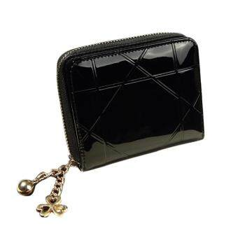 Harga Fashion Women Leather Zipper Short Small Bifold Card Holers Wallet Black