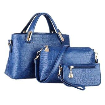 Harga Como Faux Crocodile Leather Bags Set of 3 (Blue)
