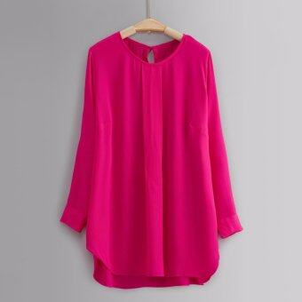 Harga L'Aile 2017 Women Casual Plain Simple Clothing Long Cuff Sleeve O-Neck Blouse Hotpink