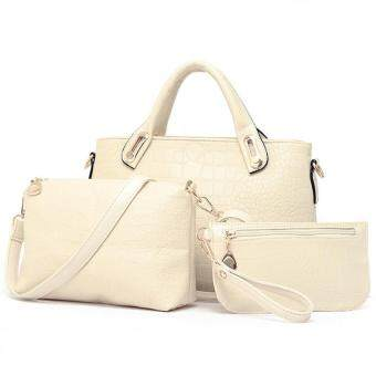 Harga Realeos Elegant Faux Crocodile Leather Bags (Set of 3) (White)