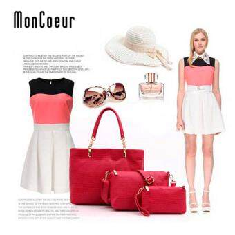 Harga MonCoeur A02 Set of 3 in 1 Luxury Leather HandBags Rose Red