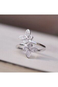Harga Moonar Butterflies Little Zircon Ring (Silver)