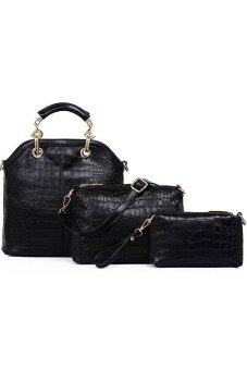 Harga Soft Faux Crocodile Leather Bags Set of 3 Black color