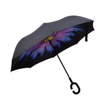 Harga Inverted Inside-Out Umbrella With C-Hook Handle - Purple Daisy