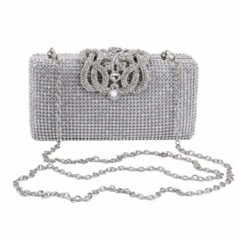 Harga Acecharming Ladies Women's Sequin Crystal Diamante Clutch Evening Bag Wedding Prom Handbag Purse (Silver)