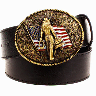 Harga Wild Personality Men's belt metal buckle colour western cowboy belts American cowboy style trend belt for men gift free shipping