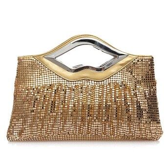 Harga Big Bag Fold Aluminium Sequins Female Bag Dinner Handbag Gold - Intl