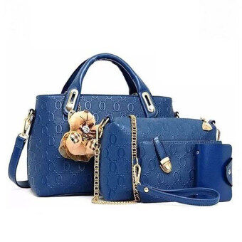 Harga SELECTION Set of 5 in 1 Luxury Faux Crocodile Leather HandBags (Blue)