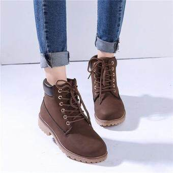 Harga Women's Leather Snow Martin Boots Plush Fur Work Outdoor Casual Shoes Waterproof BROWN