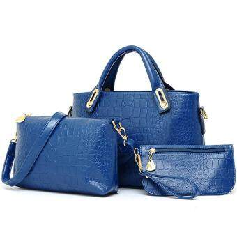Harga Realeos Elegant Faux Crocodile Leather Bags (Set of 3) (Blue)