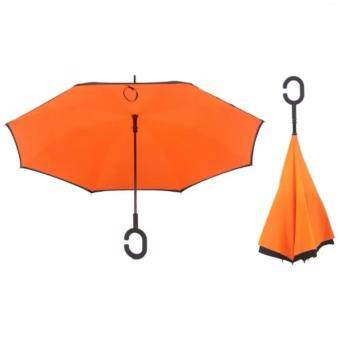 Harga 4CONNECT High Quality Unique Inverted Inside-Out Umbrella With C-Hook Handle - ORANGE
