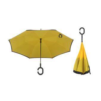 Harga 4CONNECT High Quality Unique Inverted Inside-Out Umbrella With C-Hook Handle - YELLOW