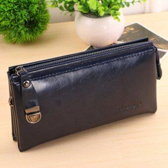 Harga Men's Wallet Zipper Casual Purse Korean Business Hand Bag Youth Large Capacity Clutch (Blue)