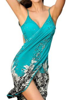 Harga Women Deep V Backless Wrap Swimwear Bikini Beach Cover Up Sarong Beach Dress