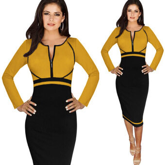 Harga Fashion Women Dresses Long Sleeve Empire Waist Patchwork Stretchy Zipper Knee-length Work Casual Pencil Dress Plus Size S-4XL Yellow