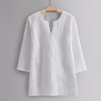Harga L'Aile Women Lady Long Sleeve Embroidery Blouse Linen White