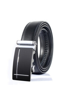 Harga 2016 Fashion Hot Sale Men Automatic Buckle Belts Leather WaistStrap Belt Luxury Business Formal Waistband Belt(Silver)