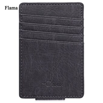 Harga Flama Pure Color Dull Polish Invisible Magnet Button Open Card Wallet Money Clip for Men