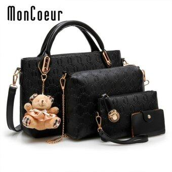 Harga MonCoeur B04 Set of 5 in 1 Luxury Faux Crocodile Leather HandBags (Black)