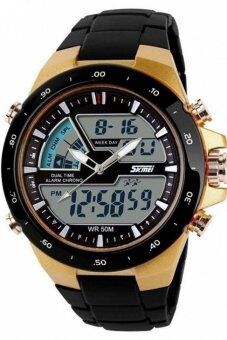 Harga Skmei 1016 Quartz Silicone Army Waterproof Sport Strap Watch Black Gold(Int: One size)