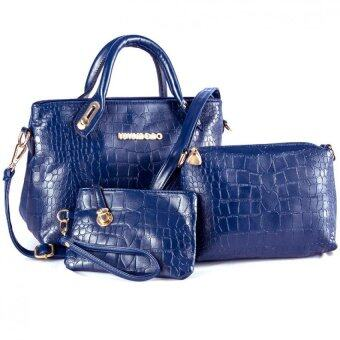 Harga Lulumono Faux Crocodile Leather Bags Set of 3 GEM BLUE