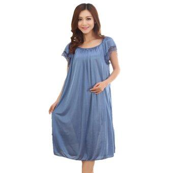 Harga Loveena Ice Silk Plus Size Pyjamas Sleepwear Dress L7070 (Blue)