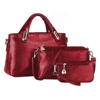 Harga COMO Set of 3 Faux Crocodile Leather Bags- Red