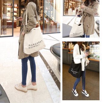 Harga L'Aile 2017 Women Letter Korean Casual Simple Tote Bags Canvas Bags(White)