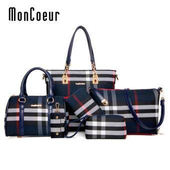 Harga MonCoeur D006 Set of 6 in 1 Woman European Design PU leather Handbag (Blue)
