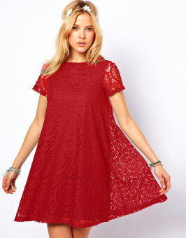 Harga Moonar Hollow Out Lace Dress (Red)