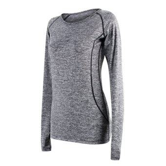 Harga Fashion New Women Outdoor And Inside Sport Running Fast Dry Long Sleeve T Shirts-Grey(3523)