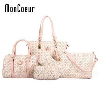 Harga MonCoeur D003 Set of 5 in 1 Woman Premium PU leather Handbag (White)