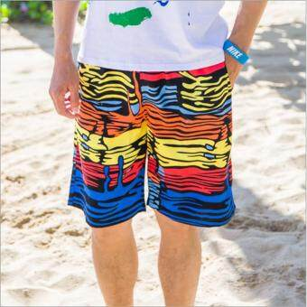 Harga Men Summer beach shorts quick drying couple beach pants men colorful shorts swim beach pants suit large size holiday swimsuit