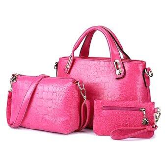 Harga Como Faux Crocodile Leather Bags Set of 3 (Rose Red)