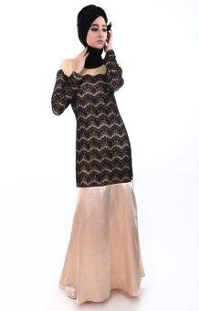 Harga Natasha Aishya Black Lace Satin Muslimah Jubah Dress (Beige Gold)