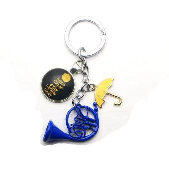 Harga How I Met Your Mother Car Key Holder with Blue French Horn/Yellow Pendant HIMYM TV Cosplay Jewelry